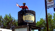 Stock Video Footage of Wild West Junction Sign- Old West Themed Plaza- Williams AZ