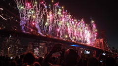 July 4th Fireworks in New York City Brooklyn Bridge Stock Footage