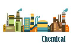 assorted chemical factories - stock illustration