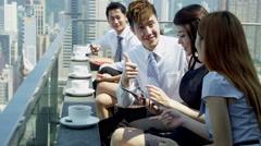 Ethnic Corporate Business Partners Celebrating Success Stock Footage
