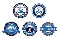 Set of outdoor adventure and camping emblems Stock Illustration