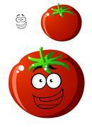 ripe red cartoon tomato - stock illustration