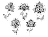 Stock Illustration of black and white floral motifs of persian style