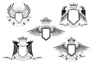 Stock Illustration of set of heraldic winged shields