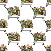 Seamless background pattern of a cart of groceries Stock Illustration