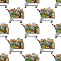 Stock Illustration of seamless background pattern of a cart of groceries