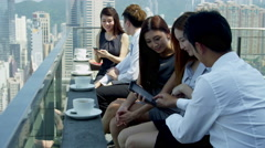 Group Young Ethnic Advertising Executives News Success Stock Footage