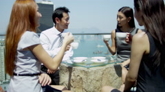 Group Young Ethnic Advertising Executives Rooftop Restaurant Stock Footage