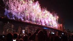 July 4th Fireworks in New York City Brooklyn Bridge 4k Stock Footage