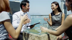 Young Ethnic Business People Outdoors Wireless Technology Stock Footage