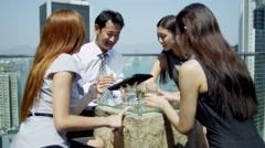 Stock Video Footage of Team Business Associates News Success Rooftop Restaurant
