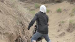 Massive sea lion gets angry & chases a man - stock footage