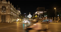 4K wide of the Metropolis Building from the Plaza de Cibeles, Madrid, Spain Stock Footage