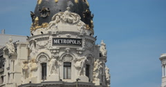 4K Close Up Of The Edificio Metropolis (Metropolis Building), Madrid, Spain Stock Footage