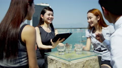 Ethnic Corporate Business Partners Wireless Tablet Meeting Stock Footage