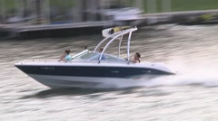 Speed boat goes right to left 2 Stock Footage