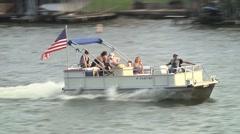 Pontoon Boat on Lake 3 Stock Footage