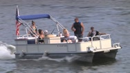 Stock Video Footage of Pontoon Boat on Lake 2