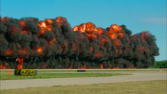 Wall of Fire at Airshow Close Up Stock Footage