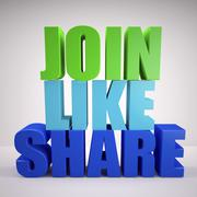 Join, like, share sign Stock Illustration
