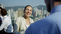 Close Up Asian Chinese Business Associates Colleagues Background - stock footage
