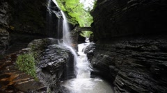 Rainbow Falls, Watkins Glen State Park, New York. 1080/30 16s Stock Footage