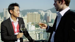 Young Multi Ethnic Businessmen Outdoors Rooftop Bar Stock Footage
