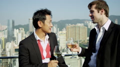 Happy Multi Ethnic Advertising Executives Celebrating Rooftop Bar - stock footage