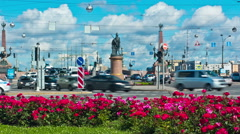 Suvorov Square. St. Petersburg. Russia. timelapse Stock Footage