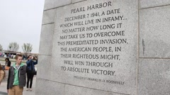 WWII MEMORIAL - Roosevelt Quote Stock Footage