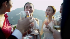 Multi Ethnic Corporate Business Reward Drinks Outdoors - stock footage