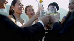 Young Multi Ethnic Business People Outdoors Rooftop Bar Stock Footage