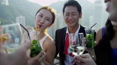 Team Business Associates Social Meeting Rooftop Bar Stock Footage