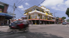 Hotel and intersection in Huatulco's city centre Stock Footage