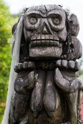 Llorona crying woman aztec prehispanic style wooden god Stock Photos