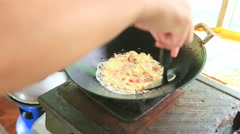 Pork omelette cooking Stock Footage