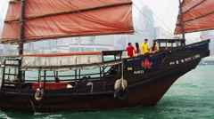Multi Ethnic Tourists Sailing Chinese Junk Hong Kong Island Stock Footage