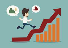 business man runing top of  graph - stock illustration