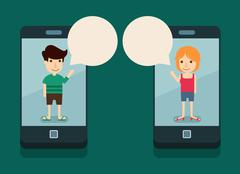 communication with smartphone - stock illustration