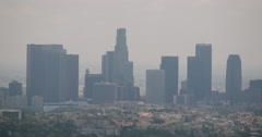 4K video of the downtown Los Angeles skyline at dusk Stock Footage