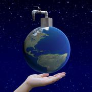 hand holding arid world with faucet, earth globe image provided by nasa - stock illustration