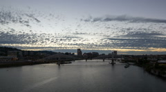 Time Lapse of Clouds Over Downtown Portland Oregon with Tilikum Crossing 1080p Stock Footage