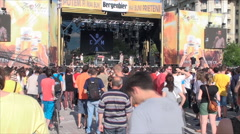 Summer Rock Festival, Crowd Of People Enjoying The Show, High Angle Stock Footage