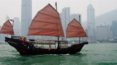 Commercial Sightseeing Chinese Junk Hong Kong Island Stock Footage