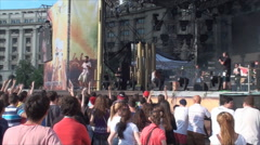 Summer Rock Festival, Lead Singer Throwing A Pick Into The Public, Music,Concert - stock footage