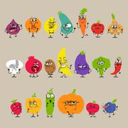 Stock Illustration of Cartoon Fruits and Vegetables with Facial Expressions Set