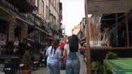 Stock Video Footage of Turkish Ice Cream, On A Busy Street, Crowds, East Europe, People
