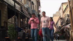Crowded Street, People Walking By, East Europe, Bucharest, Crowds, Low Angle - stock footage