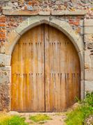 wooden castle gate - stock photo