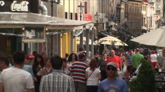 Crowded Street, People Walking By, East Europe, Bucharest, Crowds,High Angle Pan - stock footage